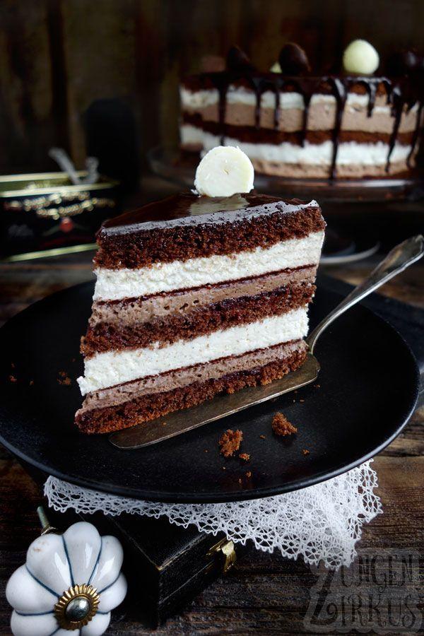 Schoko-Vanilletorte / Drip cake mit Schoko - Zungenzirkus