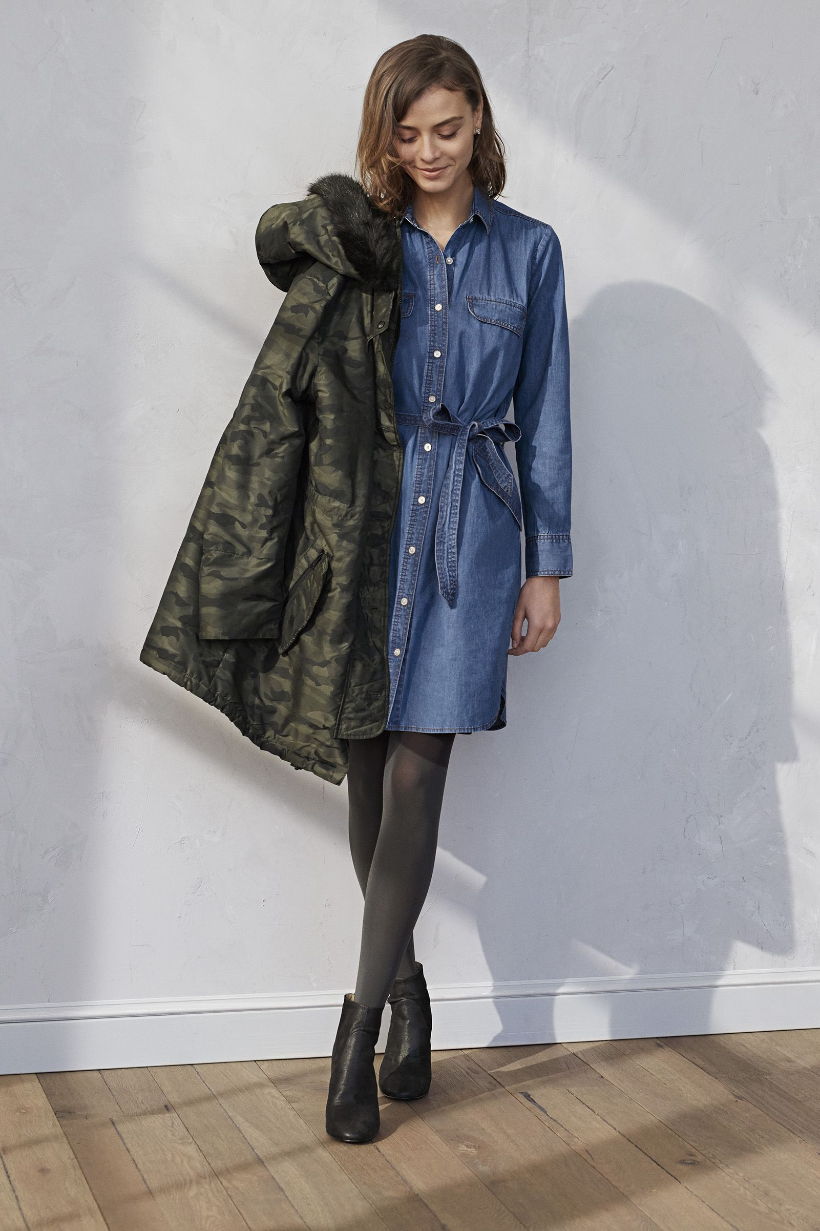 It S Versatile And Lightweight Making Great For Layering This Winter Season Banana Republic A Denim Shirtdress