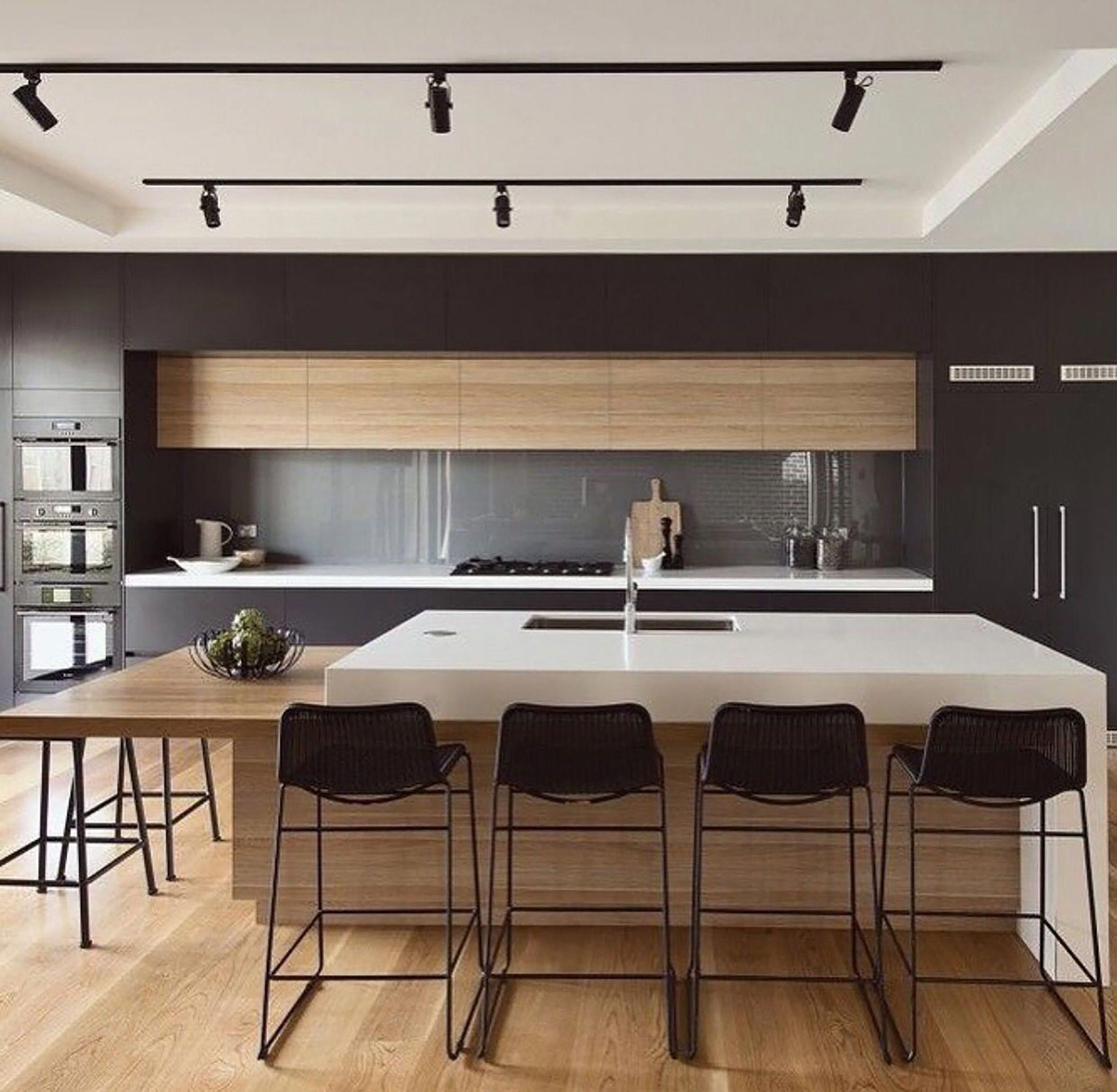 Can Track Lighting Ever Be Cool Spoiler I Think Kind Of Luxurykitchendesigns Kitchen Inspiration Modern Modern Kitchen Kitchen Design