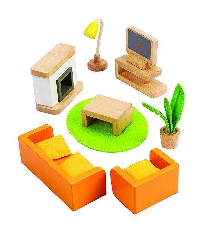 amazon: hape wooden doll house furniture media room set: toys