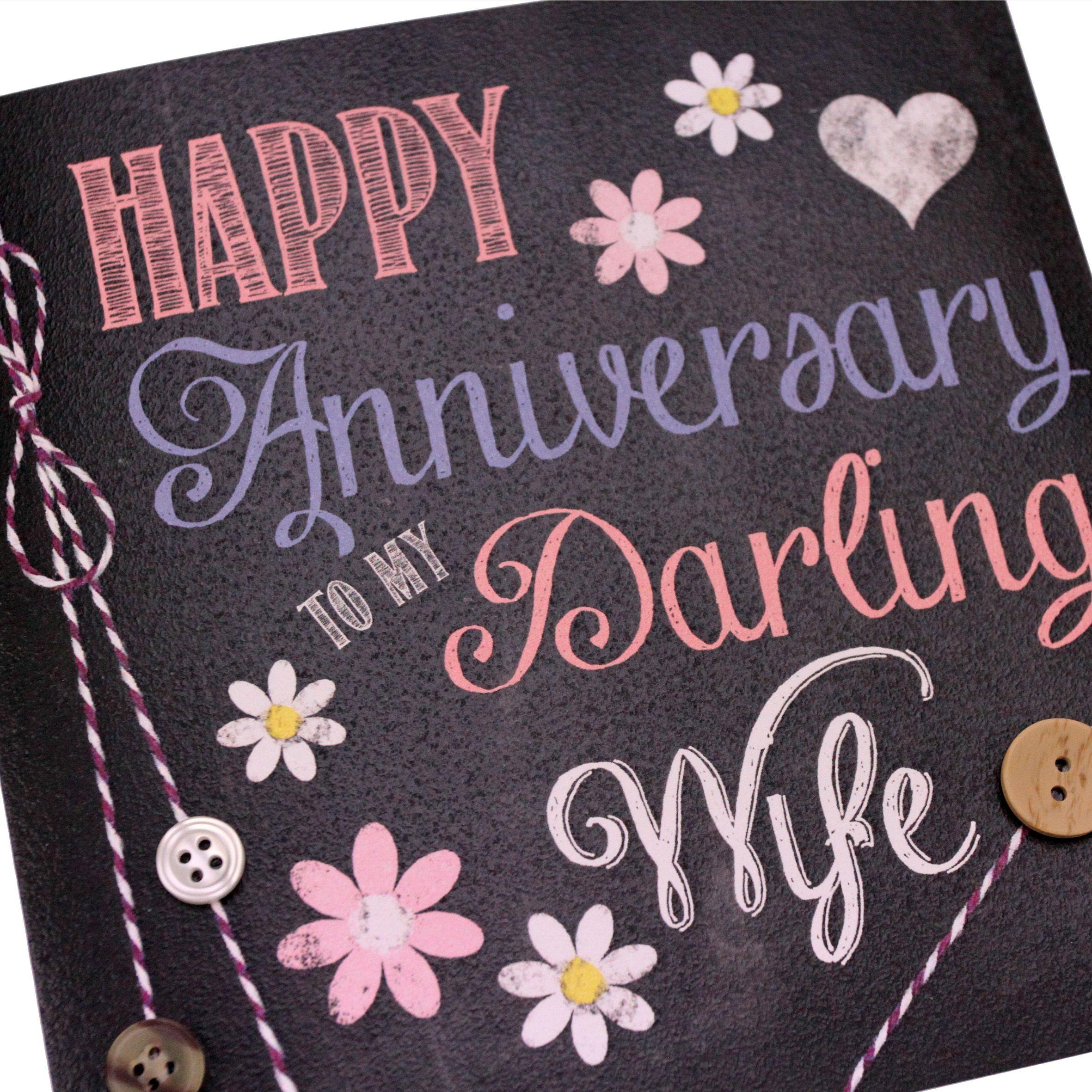 Handmade Chalk Effect Anniversary Card Wife Daisy Flowers