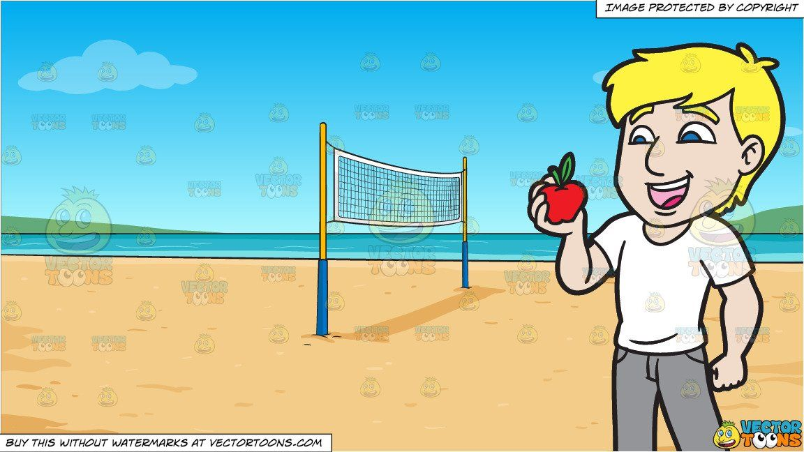 A Man Delighted To Snack On An Apple And Beach Volleyball Background In 2020 Volleyball Backgrounds Beach Volleyball Beach Volleyball Net