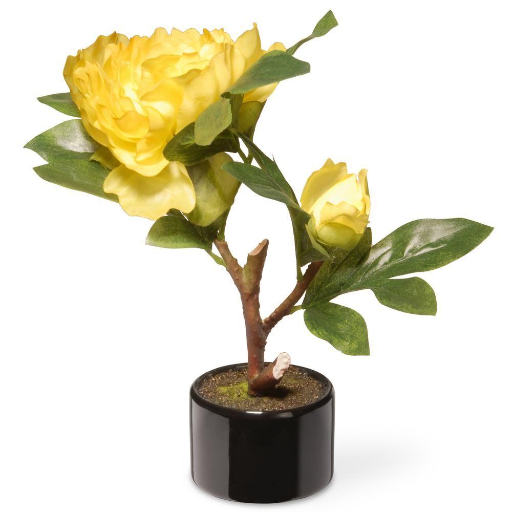 National Tree Company 95 In Yellow Peony Flower Yellow Peonies