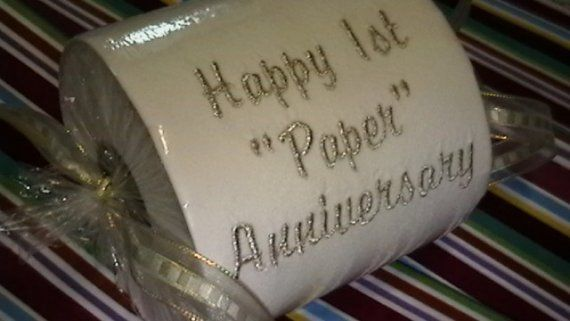 Gift To Husband On First Wedding Anniversary: Happy 1st Paper Anniversary Embroidered Toilet Paper Gift