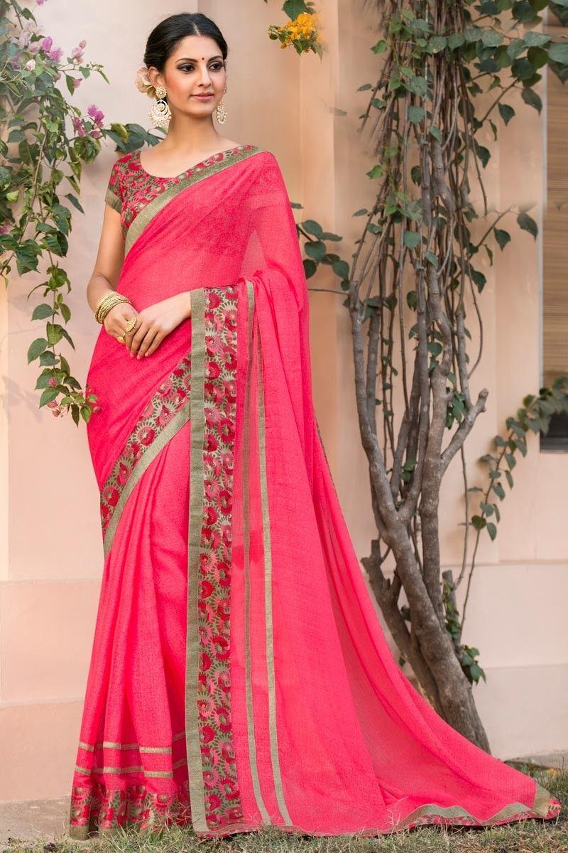 41ac572dfd8e50 Temple Wear Chiffon Pink Color Saree With Fancy Print Designs from  Kalaniketan.com