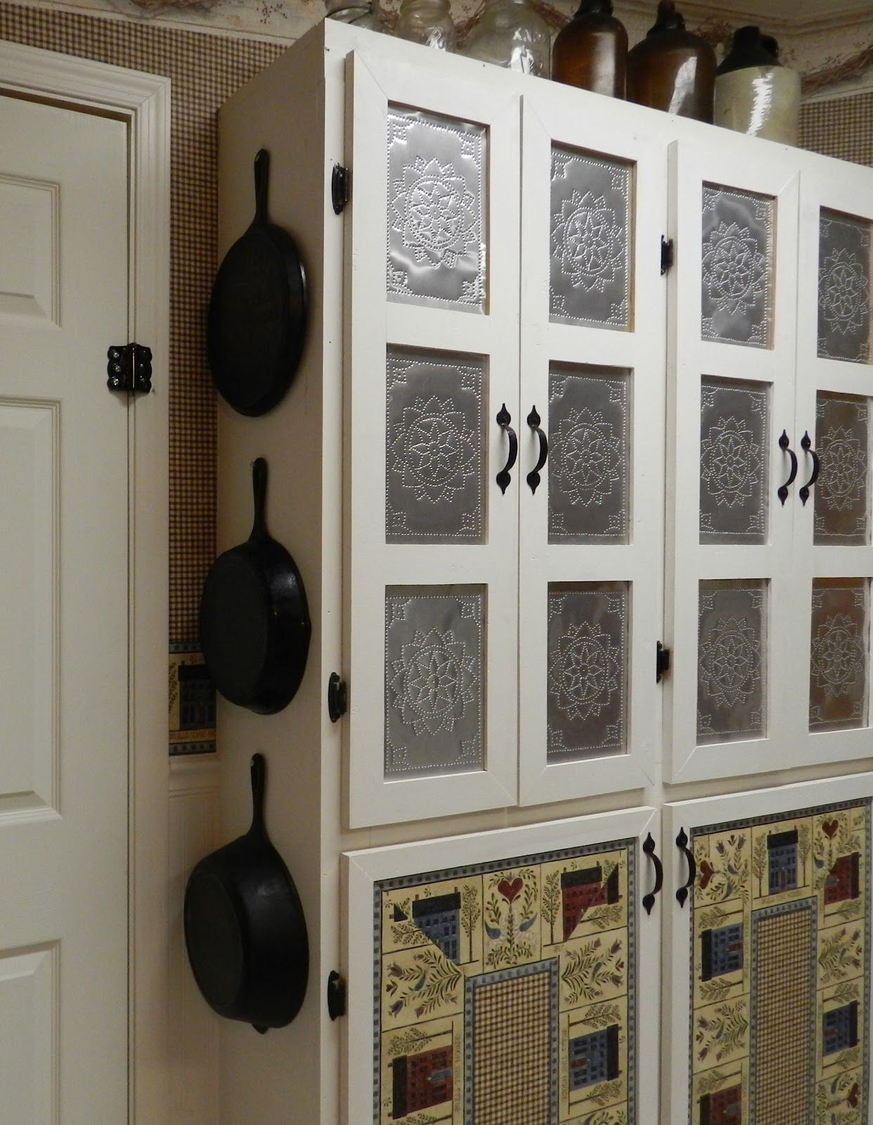 Punched Tin Paneled Country Cabinet Tin Panel Punched Tin Punched Tin Backsplash
