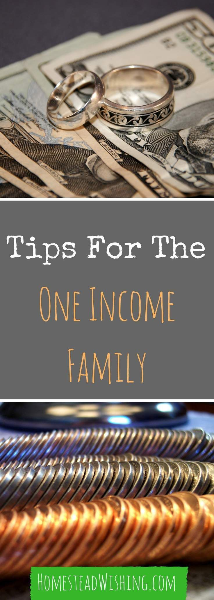 How to get by on one income. Having one income can be very hard on a family. Here are some tips I have learned from the many years of living that way. | http://homesteadwishing.com/tips-for-the-one-income-family/ | http://homesteadwishing.com/tips-for-the
