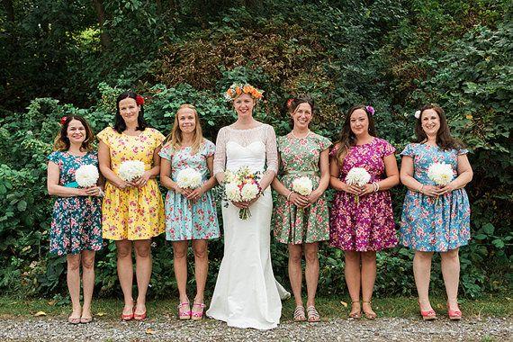 Floral bridesmaids dresses mismatched coordinating tea dress cap ...