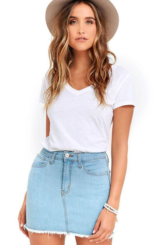 6e9405c2c We're dreaming little denim dreams and the Pop and Lock Light Wash Denim  Mini Skirt is front and center! Stretch denim falls from a belt  loop-accented ...