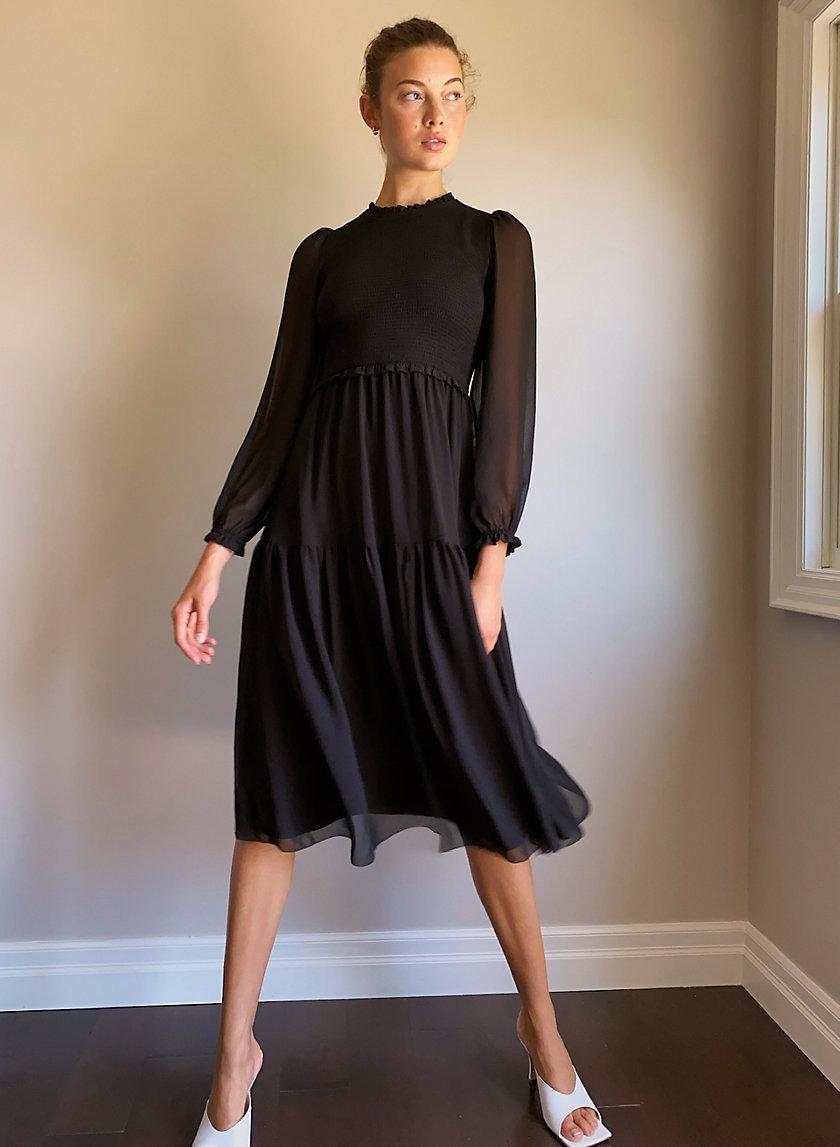 Rosalyn Dress Black Long Sleeve Midi Dress Dresses Chiffon Midi Dress [ 1147 x 840 Pixel ]