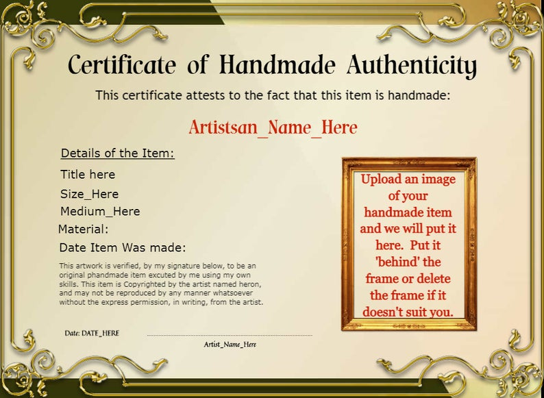 Personalized Certificate Of Handmade Authenticity Etsy Personalized Awards How To Memorize Things Digital Gifts