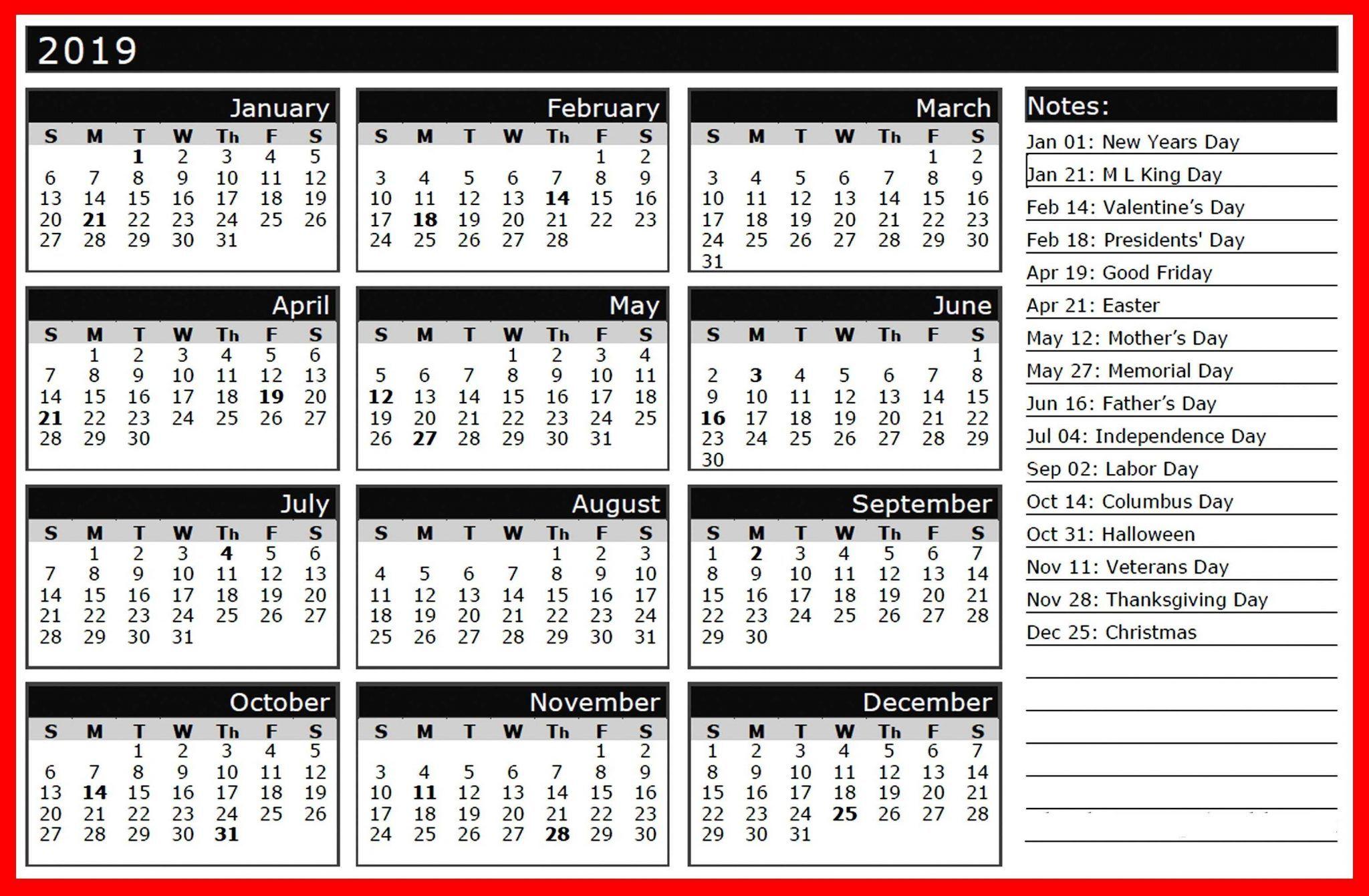 2019 Holiday Calendar India Printable calendar template