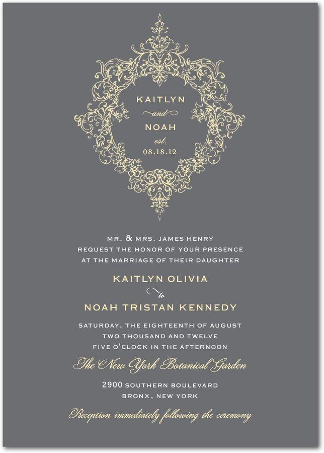 Opulent Crest - Signature White Wedding Invitations in Stormy Blue or Gunmetal   Lady Jae