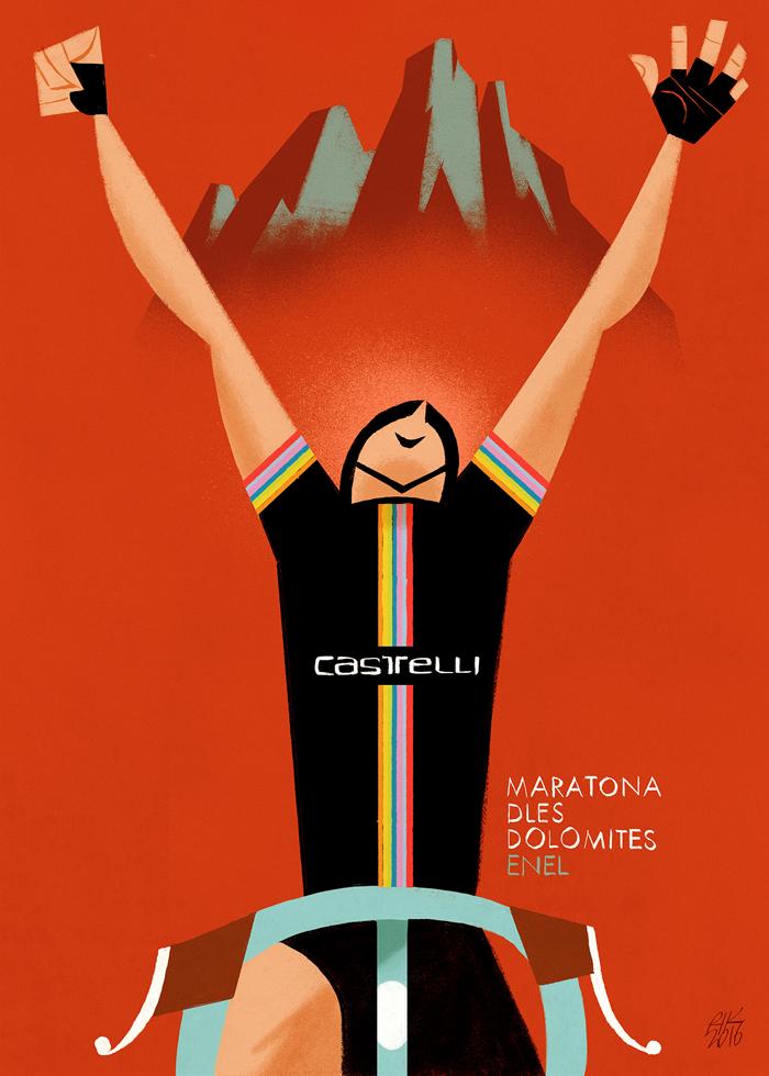 """Maratona dles Dolomites - Enel 2017. Riccardo """"Rik"""" Guasco (1975) - Castelli (2016). Illustratore e artista, Rik per i trent'anni della manifestazione, ha realizzato trenta tavole dedicate ai momenti più caratterizzanti della corsa: partenza, arrivo, passi, ciclisti, montagne, volontari, sponsor, alberi, nuvole, strade, folla, bici, entusiasmo, sole, fatica, ristori…"""