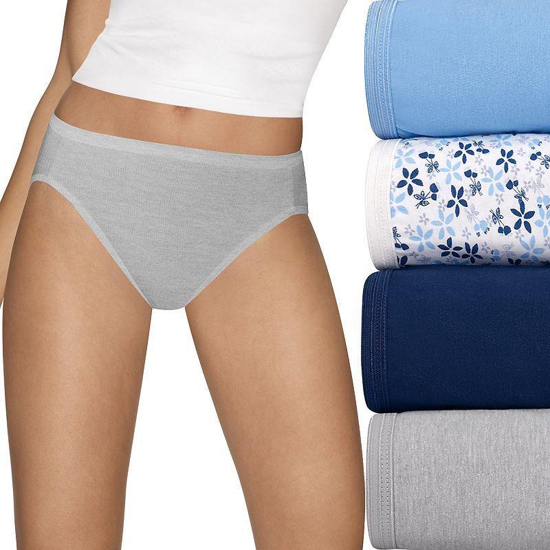 5da05422e798 Hanes Ultimate 4-pack Comfort Hi-Cut Briefs 43KU, Women's, Size: 8, Light  Blue