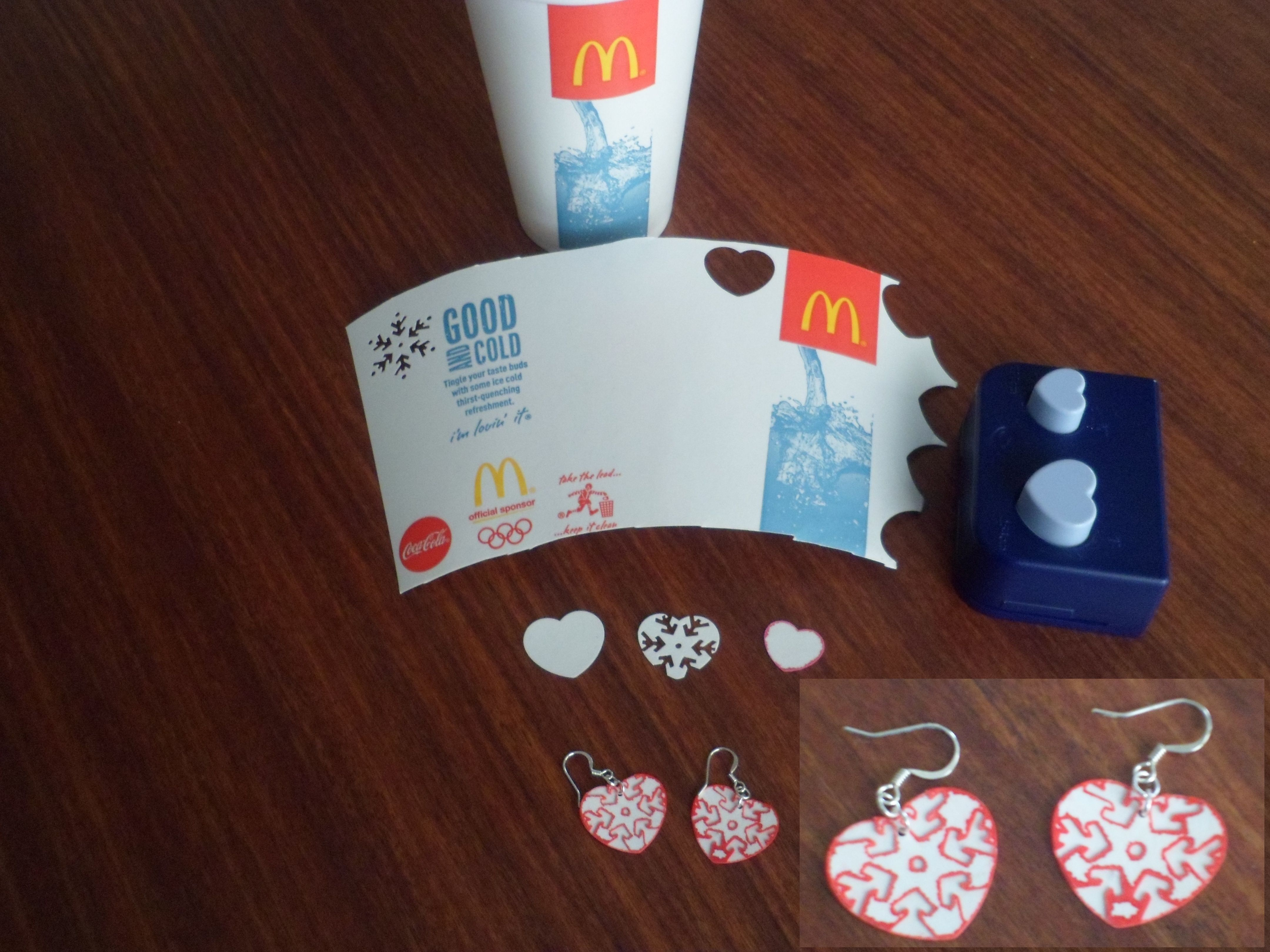 Earrings from a McDonalds cup (or similar).