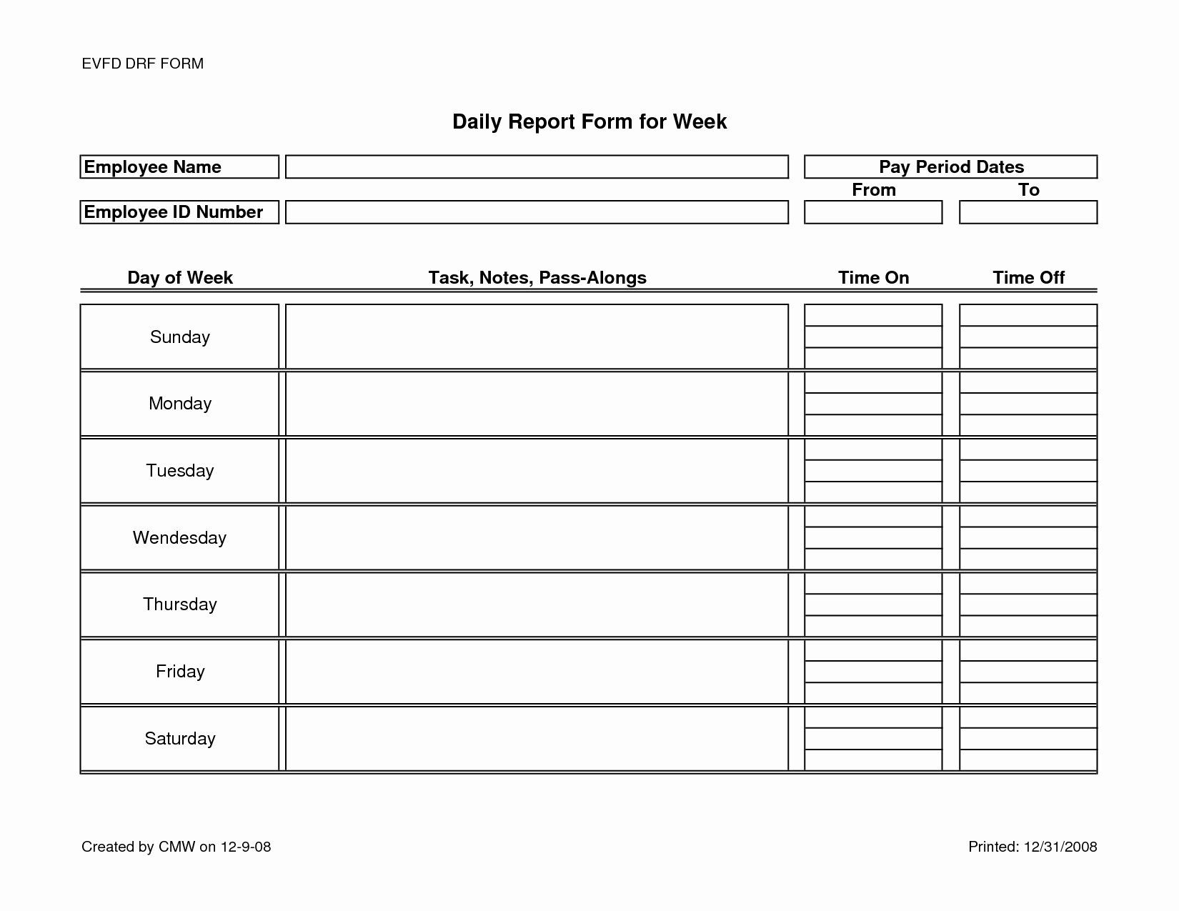 Daily Production Report Template Excel Inspirational ...
