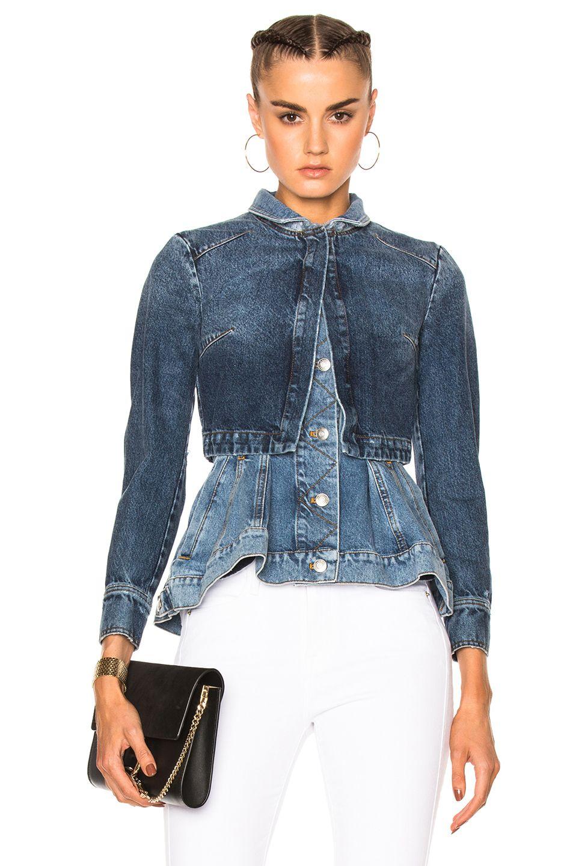 Alexander Mcqueen Peplum Denim Jacket In Blue Fwrd Denim Fashion Denim Jacket Denim Design [ 1440 x 953 Pixel ]