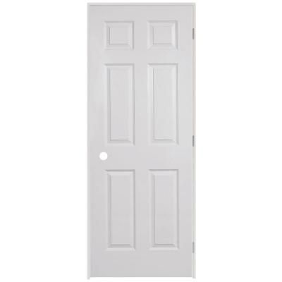 Veranda 24 In X 80 In 6 Panel Textured Hollow Core Primed White