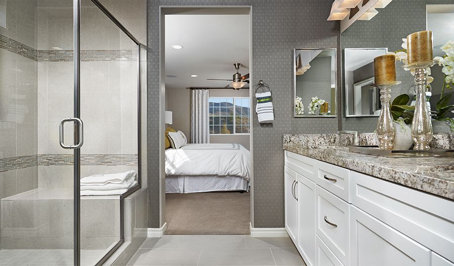 A neutral color palette gives this master bath in palmdale for Bathroom design richmond