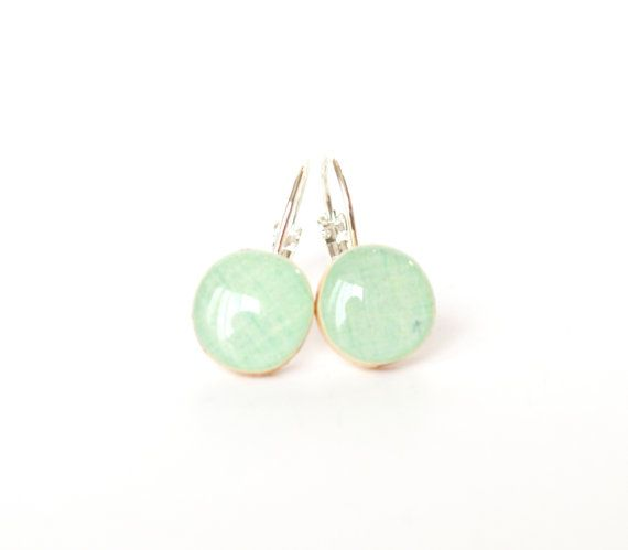 I love pretty much anything from this etsy shop! Mint green dangle earrings spring jewelry by starlightwoods, $22.50