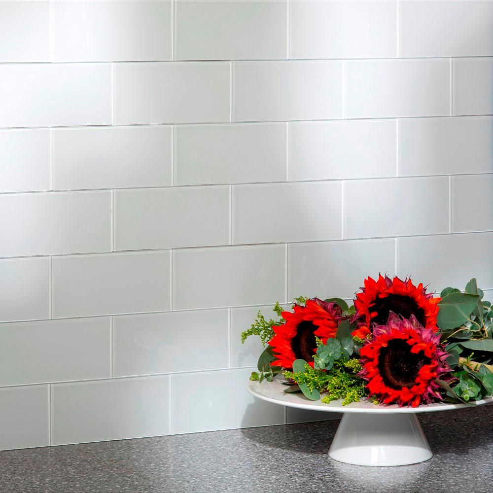 - 6 In. X 3 In. Frost Glass Decorative Wall Tile (8-Pack) A50-63