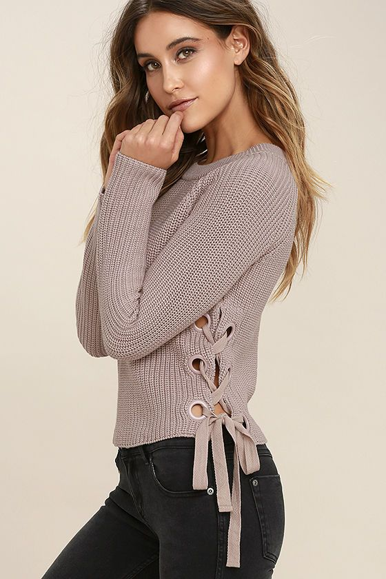 228296612ff The Good-Natured Beige Lace-Up Sweater is always a crowd pleaser!  Medium-weight knit shapes a rounded neckline and long sleeves. Wide-cut  bodice features ...
