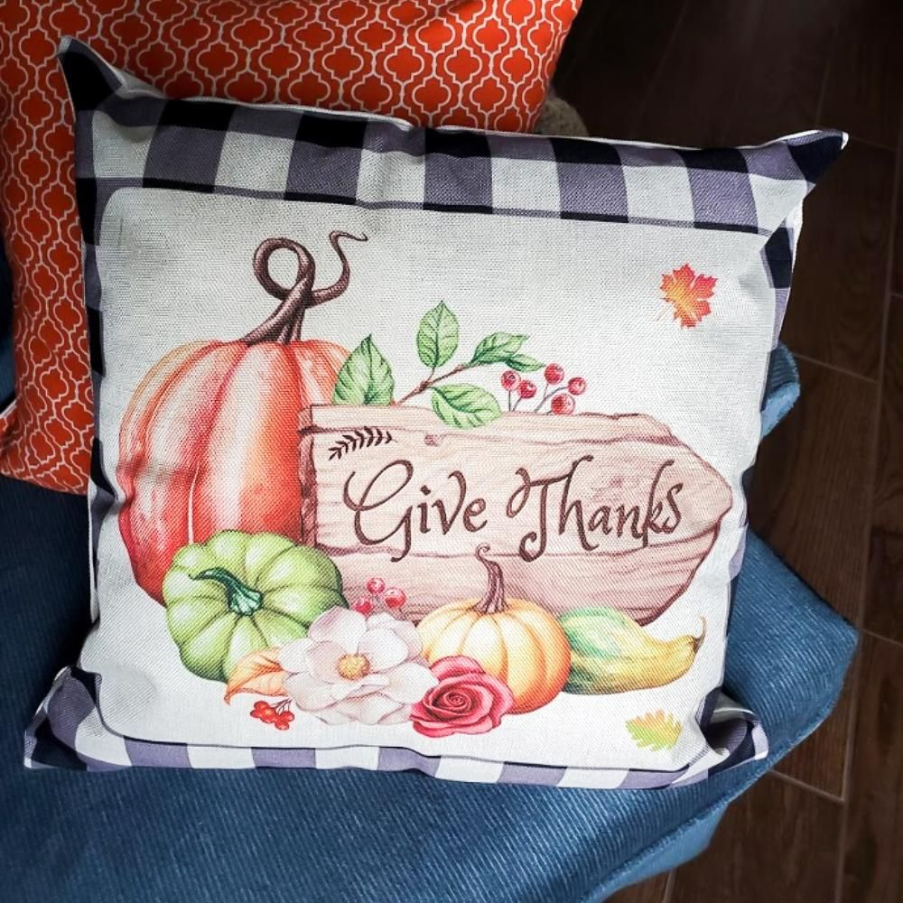 Fall Cozy! 18x18 Zippered Pillow Cover With Or Without Insert - Give Thanks With