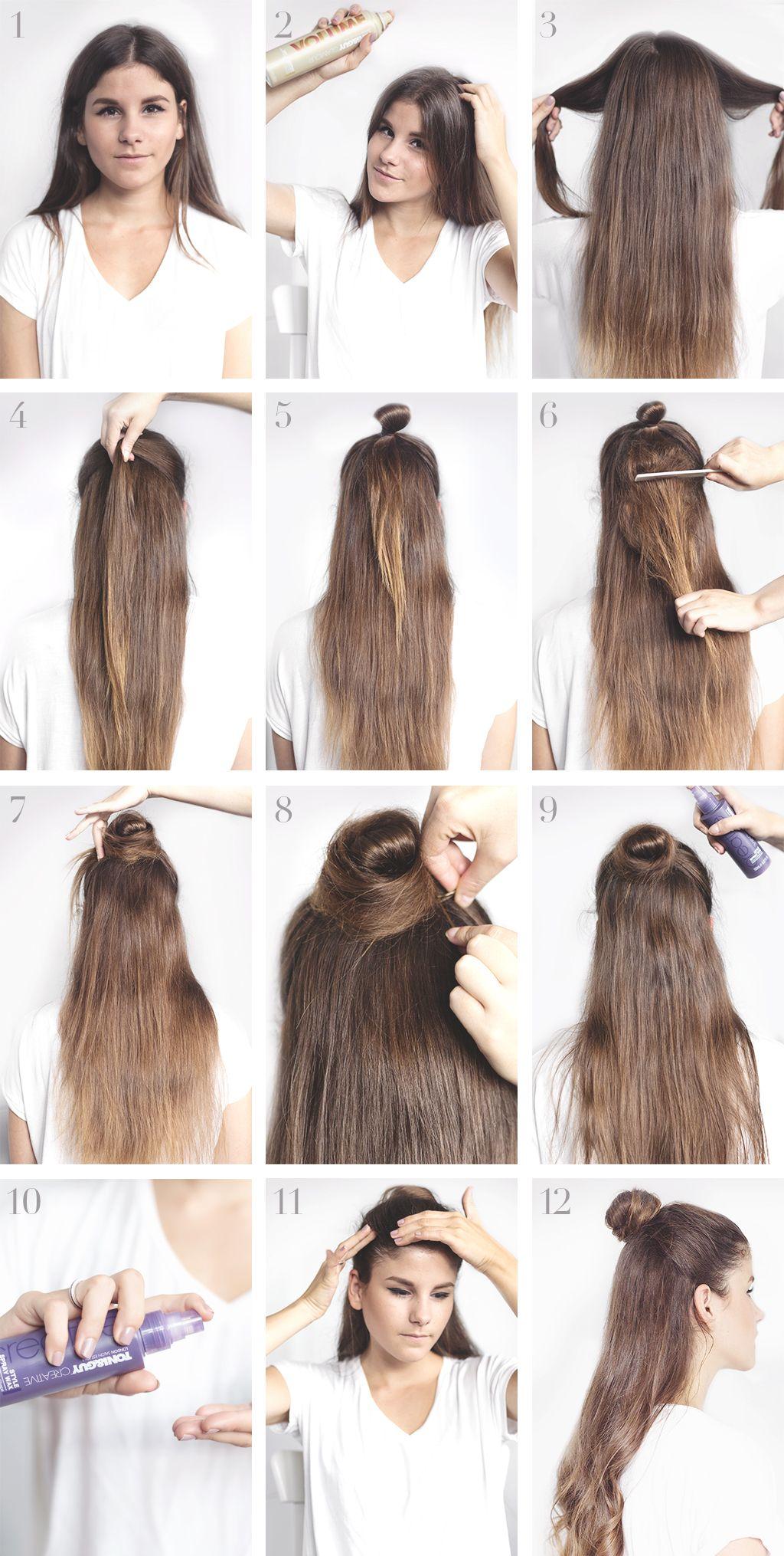 Tutorial Chic Half Bun Half Bun Hairstyles Bun Hairstyles Hair Bun Tutorial