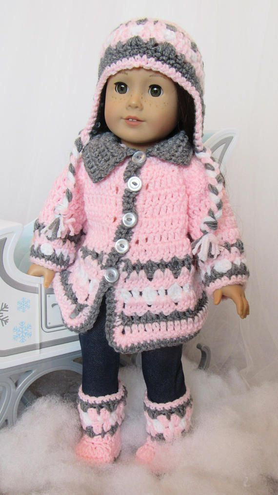 18 Doll Coat Hat and Boots Winter Set | doll clothes | Pinterest ...