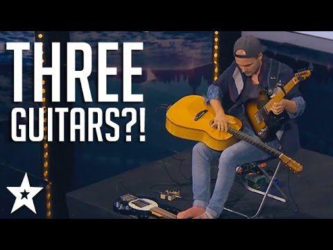 man plays three guitars for got talent judges got talent global music guitar play music. Black Bedroom Furniture Sets. Home Design Ideas