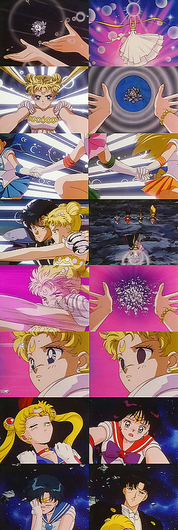 """""""Sailor Moon R the Movie: Promise of the Rose"""" - Final scenes. Love the faces btw c:"""