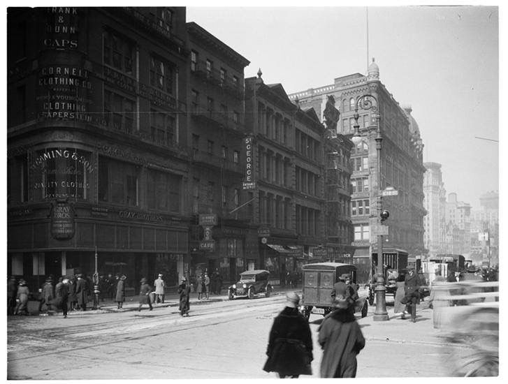 Broadway looking north on 12th. St. 1920