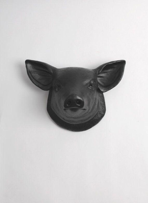 The Hamlet In Black Faux Pig Head Farmhouse Wall Decor Etsy Pig Decor White Faux Taxidermy Pig Sculpture