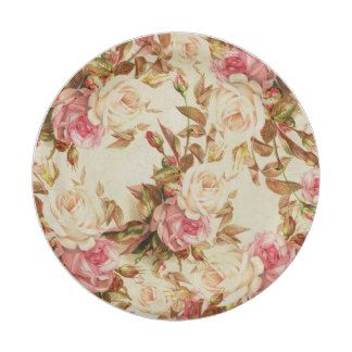 Chic vintage pink white brown roses floral pattern paper plate ...