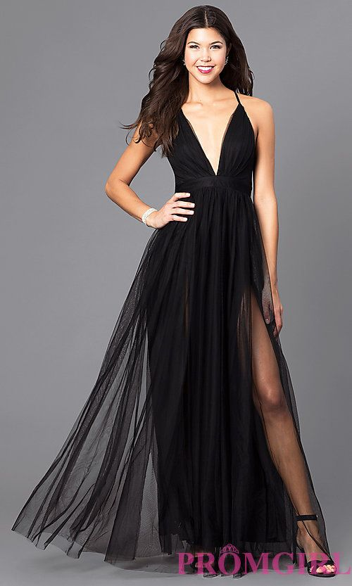 Image Of Long Sexy Prom Dress With Deep V Neckline Style Lux
