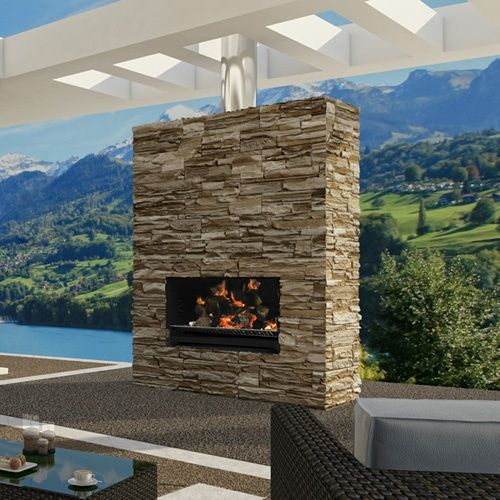 This One Is A Combo Fireplace And Grill Escea Outdoor Wood