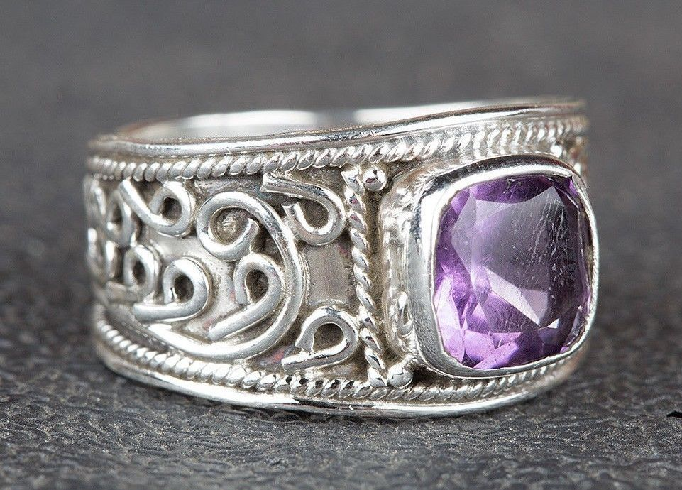 Amethyst Ring 925 Sterling Silver Wide Band Ring Wedding