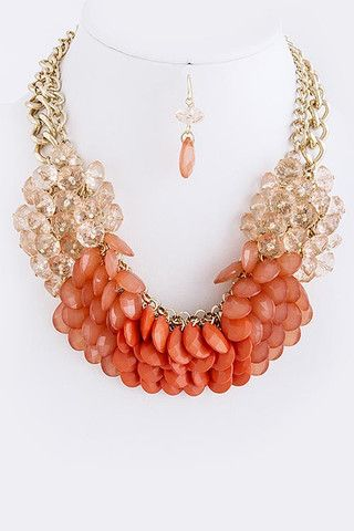 Sea Glass Beaded Statement Necklace - Coral