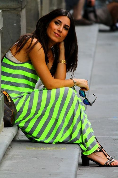 Street style chic / karen cox. neon stripes maxi dress street style on the stoop