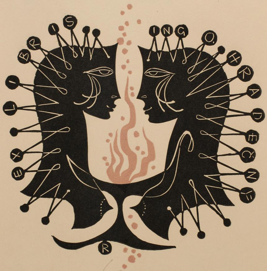 Art by Ladislav Rusek, 1968, Ing. Otakar Hradecny's Ex Libris, Czech Republic, Linocut.