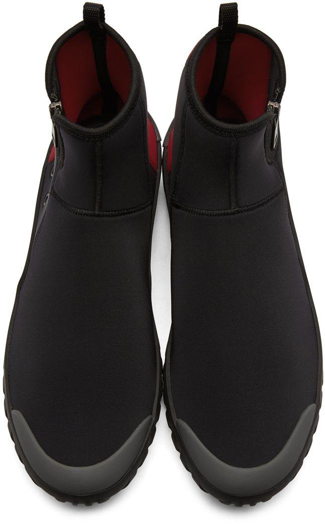 49f43c01838a Prada - Black   Red Neoprene Frog Sock High-Top Sneakers
