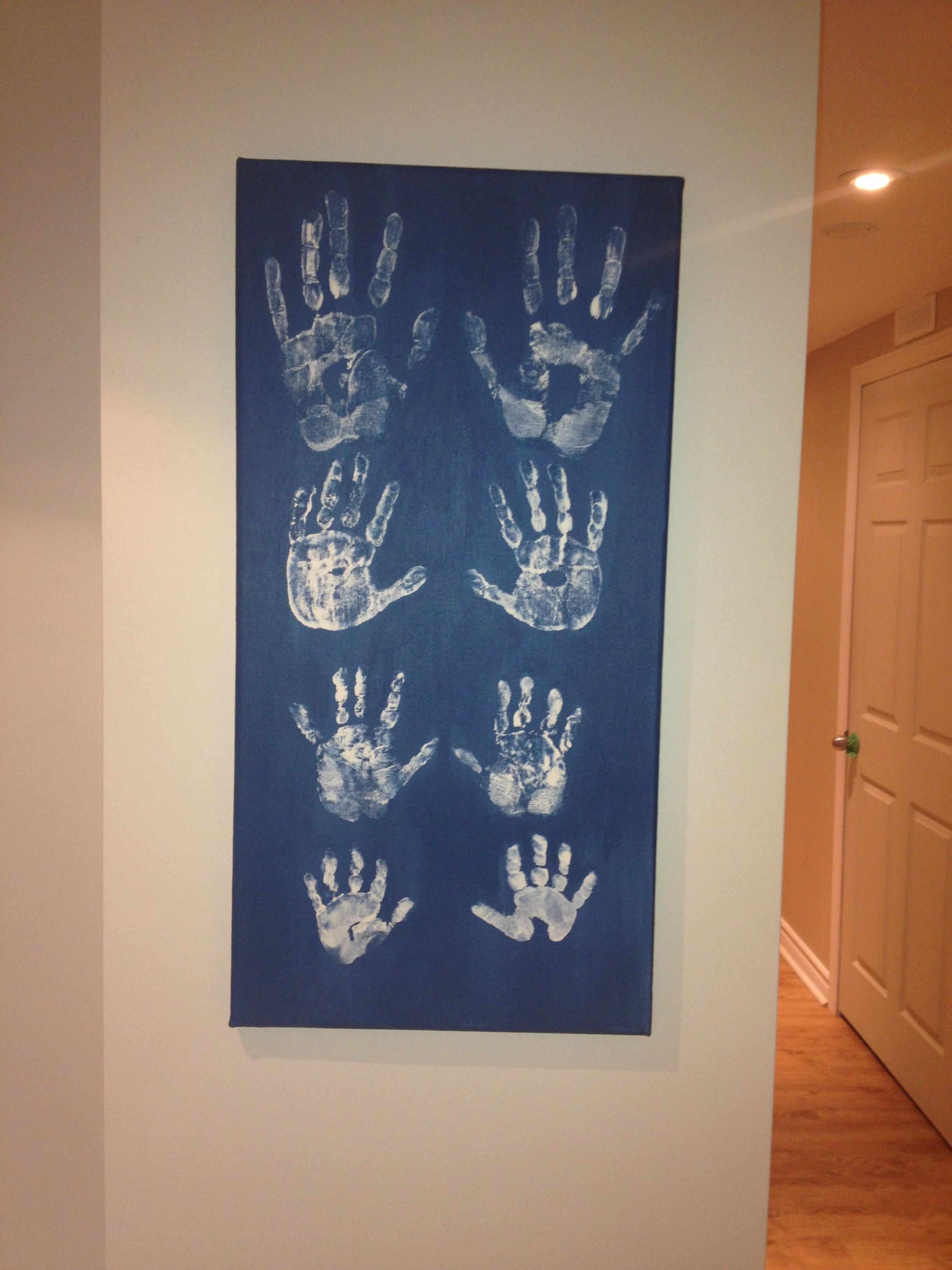 Handprint Canvas Art  Painted Canvas With Acrylic Bluegrey Paint
