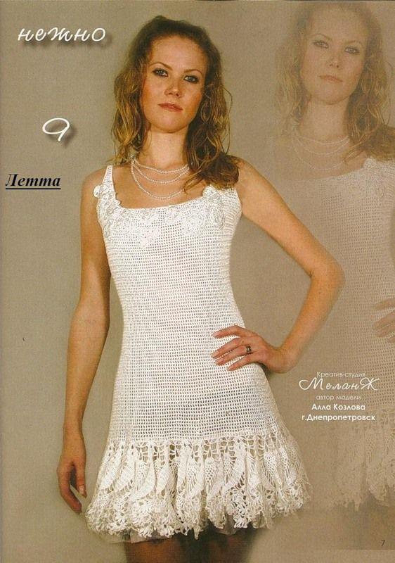 TRICO y CROCHET-madona-mía: Vestido blanco a crochet( adulta) con esquema de p...