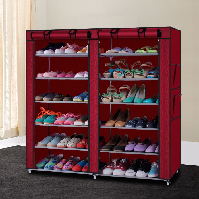 Simple Shoe Rack Non Woven Shoe Ark Multilayer Double Row Receive Dustproof Bag Mail Shoe Rack Closet Storage Closet Organization Closet Shoe Storage