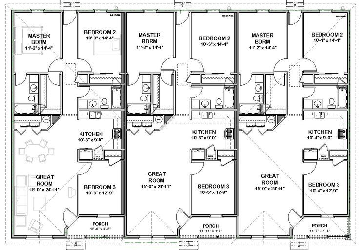 Triplex house plans 1 387 s f ea unit 3 beds 2 ba 2 unit building plan