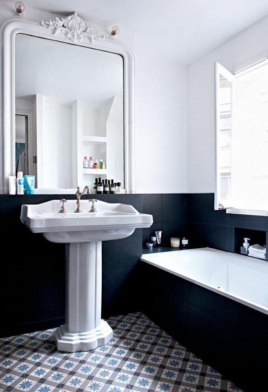 Salle De Bain Washroom ~ un soubassement en carrelage noir dans cette salle de bains r tro