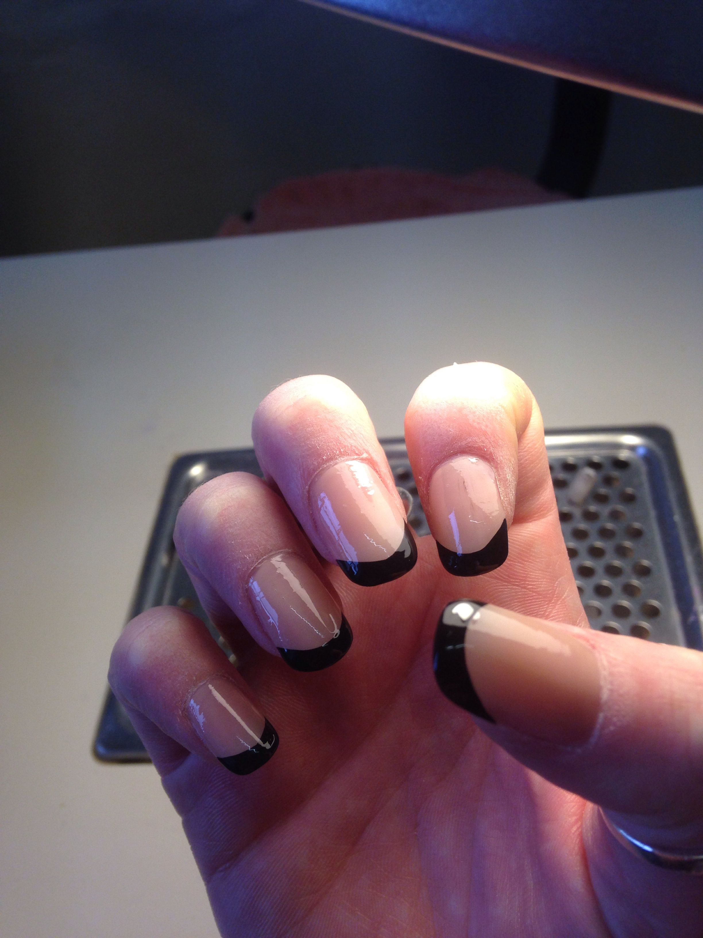 My own nails. Reverse French manicure with black tip. | General ...