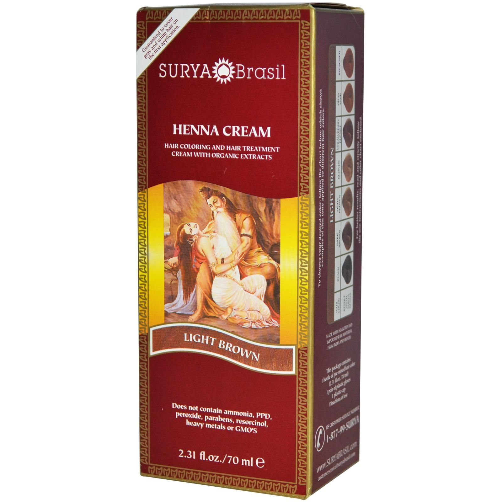 4d50b4bcc07cb Surya Henna, Henna Cream, Hair Coloring & Hair Treatment, Light Brown, 2.31  fl oz (70 ml) - iHerb.com