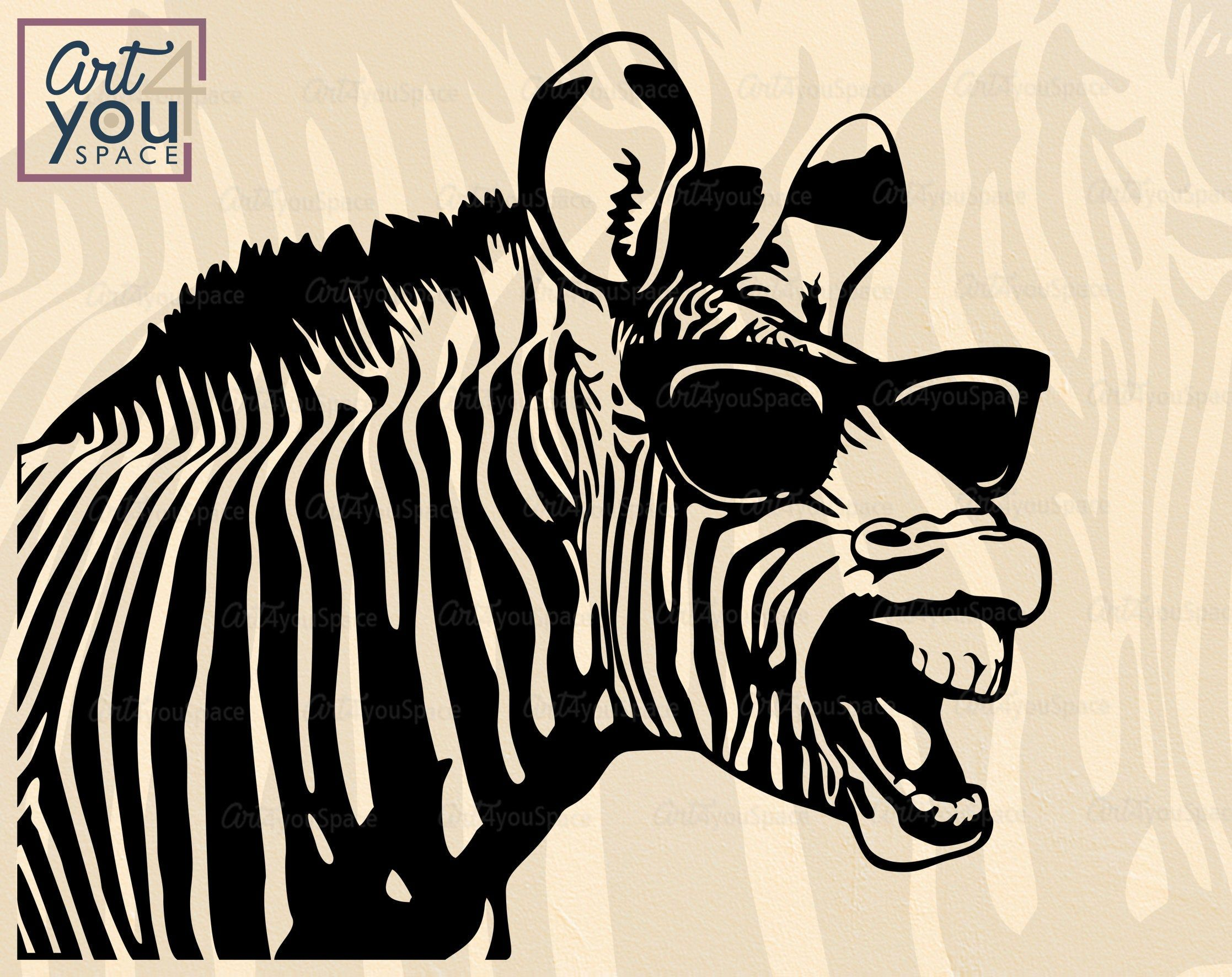 Zebra Svg cricut funny animal in Glasses safari animal